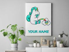 Unicorn peeing rainbow Personalized unicorn canvas wall decor for kids personalised unicorn canvas ready to hang on the wall picture by funkytshirtsfactory on Etsy Unicorn Wall, Canvas Wall Decor, Picture Wall, Rainbow, Cool Stuff, Canvases, Kids, Pictures, Handmade