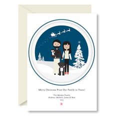 Printable Christmas Card, Santa's Sleigh, Family Portrait, Family Portrait, Custom Portrait, Holiday Card by Head Hand & Heart