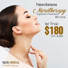 Experience our Needleless Mesotherapy that provides deep wrinkle repairing, facelifting, skin whitening, face shaping and also improves puffiness and dark circles under eyes. Get it for $180 on your first trial! Feel and look younger instantly!  For more information or for making an appointment via WhatsApp (65) 96274977 or call us at (65) 6345 4565.  Visit our website at http://www.spajelita.com for more details Follow us on Instagram: https://www.instagram.com/spa_jelita