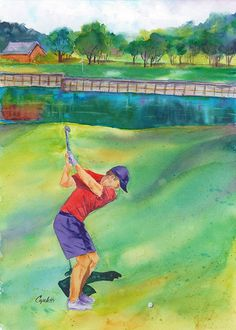 """hole at TPC Eagle Trace Golf Course"""" an original by Barb Capeletti. Prints in many sizes now available on Fine Art America. Hydro Painting, Golf Painting, Watercolor Projects, Watercolor Paintings, Original Paintings, Watercolors, America's Favorite Pastime, Golf Art, Boy Drawing"""