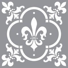 """Americana Decor - 12""""x12"""" Stencils - Fleur de Lis Tile"""