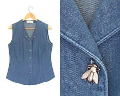 Button up. by LiveToLiveVintage Sleeveless Denim Shirts, Vintage Denim, Button Up, Bee, Buy And Sell, Jackets, Stuff To Buy, Tops, Fashion