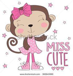 miss cute monkey girl vector illustration