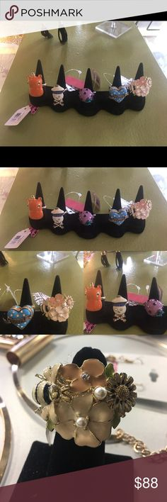 Betsey Johnson Lot of 5 Rings Hello, and Welcome to GIRLe Boutique 🌺 This is my Fabulous Shoppe' here on Poshmark👗.  All my Items are New With Tags & Handpicked by Me - Christina 💋 Amazing Quality at Rock Bottom Prices .  Sale Price: $88 Reg: $180+.      Betsey Johnson Lot of Five (5) Large Statement Rings  🌺 Flower w/ Bee Sz. 6 🌺 Blue Heart w/ Crystals Sz. One Size 🌺 Orange Hippo Sz 7 🌺 SkeletonCross Bone Sz 6 🌺 Purple Mushroom w/ Crystal Sz 5   🌺Thanks For Looking & Always Let…