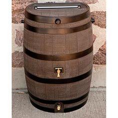 190 L Flat Back Woodgrain Rain Barrel