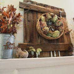 Love this fall mantel + Barn Door and Hydrangea Wreath featured on BHG . Mantelpiece Decor, Fall Mantel Decorations, Thanksgiving Decorations, Seasonal Decor, Holiday Decor, Mantles, Mantel Ideas, Thanksgiving Mantle, Thanksgiving Ideas