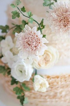 I like the color of the Dahlia, blush and cream | Maggie Austin Cake.