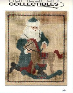 Homespun Collectibles 26 Santa w Rocking Horse Counted Cross Stitch OOP Vintage Santa Cross Stitch, Beaded Cross Stitch, Cross Stitch Embroidery, Cross Stitch Designs, Cross Stitch Patterns, Santa Crafts, Christmas Cross, Christmas Bags, Cross Stitch Supplies