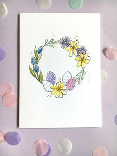 Easter Card Hand Painted Wreath Card Easter egg Ca Watercolor Cards, Floral Watercolor, Easter Drawings, Easter Art, Easter Eggs, Easter Paintings, Egg Card, Easter Illustration, Birthday Cards