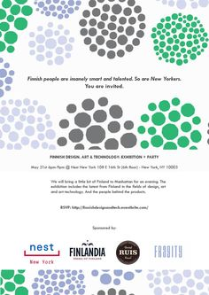 Finnish Design, Art & Technology: Exhibition + Party, May 21st 2013, New York