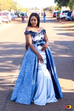 Image may contain: 1 person, standing and outdoor Wedding Dresses South Africa, African Print Wedding Dress, African Wedding Attire, African Attire, Setswana Traditional Dresses, African Traditional Wedding Dress, Traditional Wedding Attire, African Dresses For Kids, African Lace Dresses