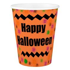 #Happy Halloween in Paint splatter Paper Cups - #drinkware #cool #special
