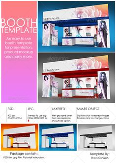 Booth Template Part 4 #GraphicRiver Booth template for presentation, product mock up or anything. Easy to customize. Just paste/replace your design in the smart object or use ready rendered jpg file. The package contain: Layered and grouped with smart object psd file with 300dpi 3 'ready to use' jpg file with 3800×2500 pixel Instruction file with picture for operating the psd file given PSD file featured: Double-click on the smart object (new window .psb will open) for editing/replacing the…
