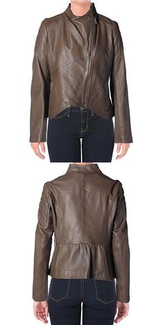 Elie Tahari Womens Celeste Lamb Leather Asymmetric Motorcycle Jacket Brown X Casual Jackets, Elie Tahari, Lamb, Motorcycle Jacket, Leather Jacket, Women's Fashion, Magazine, Brown, Studded Leather Jacket