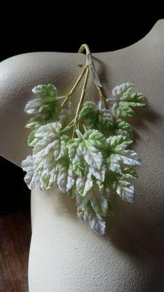 VENTA terciopelo verde hojas Ombre verde & blanco Vintage japonesa para novia, tocados, diademas, Ramos, Ramos de flores, sombrerería ML 127