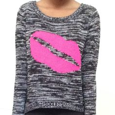 Black and White Sweater with Bright Pink Lips Black and White Sweater with Bright Pink Lip Design lei Sweaters