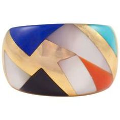 Asch Grossbardt Inlaid Gold Band Ring
