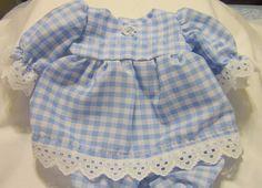 "Lt Blue Gingham 1/4"" Check Dress set Fits 12-14"" Berenguer,  incl La Newborn  #KindredHeartsDesigns"