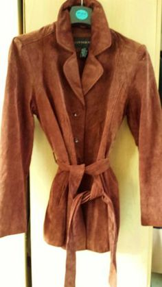 CENTIGRADE STRETCH SUEDE LEATHER COAT JACKET BROWN Size L(14) Womens Ladies WOW!