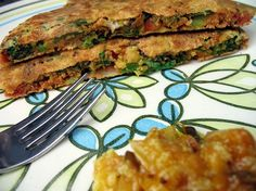 """High protein breakfast. Warm and savory high protein """"pancake"""" called a Pudla. Gluten free. Soy free. Egg free. Dairy free. Vegan friendly. Quick and easy. She has several variations. I think I'm in love."""