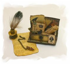 Witch letterbox with ink and penulum OOAK Dollhouse scale Haunted Dollhouse, Haunted Dolls, Dollhouse Miniatures, Steampunk Witch, Steampunk Dolls, Spooky House, Witch House, Halloween Miniatures, Fantasy Miniatures