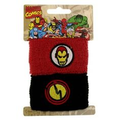 $10.00+ S/H from #TheSingingSpaniel's #BridalGifts and #Collectibles - #Retro #Iron #Man #Terry #Cuff #Wristbands- #Face and #Electricity #Logo - #Black & #Red with #Athletic #80's #Style #Sweatband - #Stretch #Terri #Cloth #Bracelet - #Officially #Licensed from #Marvel #Comics by #JewelM! - the #Avengers' #sarcastic #Tony #Stark, the #playboy #superhero - GREAT for #Halloween #costumes, #SDCC and #cosplay #events, and #fanboys #geeks, #freaks, and #NERDS! ...and even #jocks!