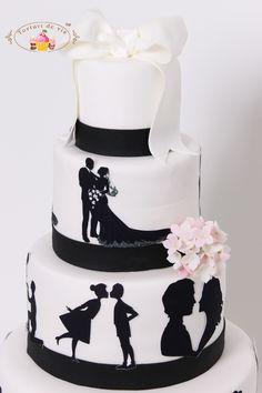Tort de nunta cu siluete Plan My Wedding, Wedding Day, Cake Art, Fondant, Wedding Cakes, Baking, Desserts, Bands, Music