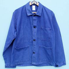 Vintage French chore jacket |Bleu de travail| French blue cotton work jacket|old faded French work jacket 38-40 inch chest
