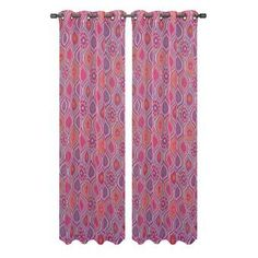 Window Elements Sheer Olina Printed Sheer 54 in. W x 84 in. L Grommet Extra Wide Curtain Panel in Pink Extra Wide Curtains, Rod Pocket Curtains, Grommet Curtains, Sheer Curtains, Panel Curtains, Elegant Curtains, Colorful Curtains, Striped Room, Blackout Panels