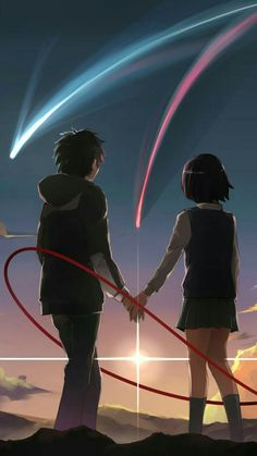 Kimi no Na wa. Mitsuha And Taki, Kimi No Na Wa Wallpaper, Your Name Wallpaper, Your Name Anime, Tamako Love Story, Japon Illustration, Anime Galaxy, Anime Love Couple, Anime Films