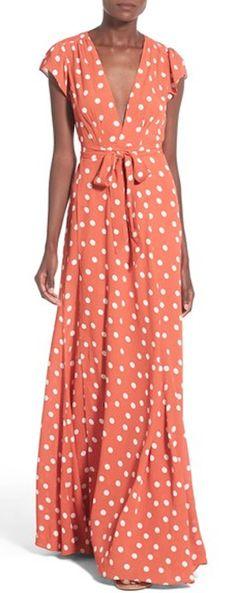 darling orange dotted wrap maxi dress