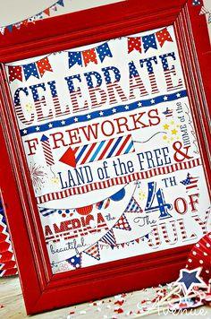 4th of July Subway Art Free Printable
