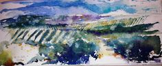 Campos de Jaén II Acuarela sobre papel Watercolor -  Aquarelle