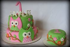 Owl themed first birthday cake with a smash cake for the birthday girl  www.creativecakesbychristy.blogspot.com