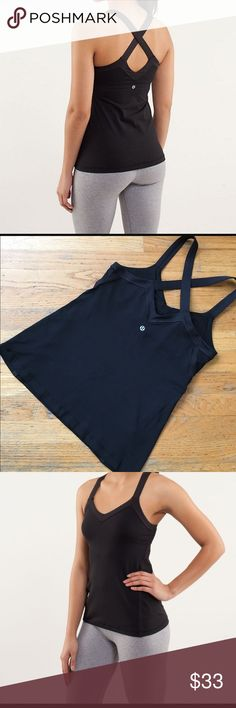 Lululemon Tank Top Super cute black tank top. In excellent condition. Tag has removed. lululemon athletica Tops Tank Tops