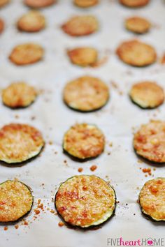 Baked Parmesan Zucchini Rounds ~ you're just 2 ingredients away from a quick and easy, delicious summer side dish! | FiveHeartHome.com