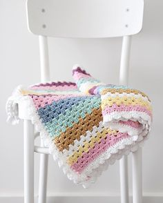 Granny Stripe Blanket - 10ply cotton yarn in soft colours