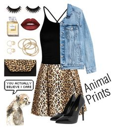 """""""Animal Print"""" by emma-be-awesome ❤ liked on Polyvore featuring Carolina Herrera, Boohoo, Yves Saint Laurent, SUSU, ABS by Allen Schwartz, Witchery, Leftbank Art and Lime Crime"""