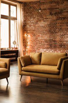 If your room seems too empty, you can simply add some lights and shadows! 💡  #home #ambience #inspiration #decor #idea #newlook #interiordesign #homedesign #redecorate #freshdesign #vivrehome #lighting #iluminat #bulbs #becuri #floor #lamp #lampadar #lampa #podea #sofa #canapea #brickwall #caramida #light #lumina #shadows #umbre #warm #cald Loveseat Sofa, 2 Seater Sofa, Mid Century Design, Scandinavian Design, Seat Cushions, Interior Inspiration, Love Seat, Living Spaces, Upholstery