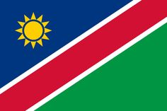 National flag of Namibian from http://www.flagsinformation.com/namibian-country-flag.html   A wide red stripe edged by narrow white stripes divides the flag diagonally from lower hoist corner to upper fly corner; the upper hoist-side triangle is blue and charged with a yellow, 12-rayed sunburst; the lower fly-side triangle is green.