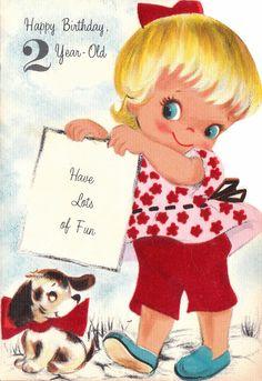 167 best happy birthday for age images on pinterest vintage 2nd birthday vintage retro illustration greeting card m4hsunfo