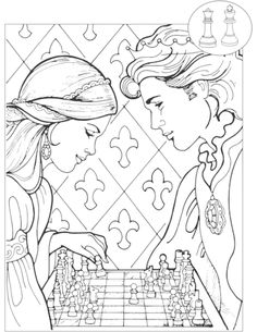 Princess and Prince Playing Chess Adult Coloring Page