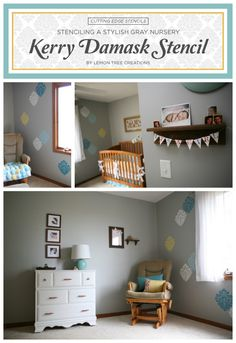 A gray nursery with a stenciled accent wall using the Kerry Damask Stencil. http://www.cuttingedgestencils.com/wall-damask-kerry.html #stenciling #nursery #cuttingedgestencils