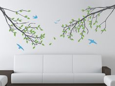 Branches and Birds Vinyl Wall Decal Set - Three Color - Nature Wall