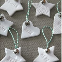 Ceramic decorations [would love the 'twinkle' star and 'love' gingerbread decoration for my Christmas tree!] These are adorable! Ceramic Christmas Decorations, Gingerbread Decorations, Christmas Tree Decorations, Hanging Decorations, Christmas Activities, Christmas Projects, Christmas Crafts, Christmas Ornaments, White Ornaments