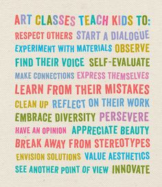 A poster about the importance of art classes for children. Middle School Art, Art School, High School, Art Class Posters, Art Doodle, Classe D'art, Bulletins, Ecole Art, Art Classroom