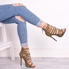 Devi Khaki Lace Up Heels