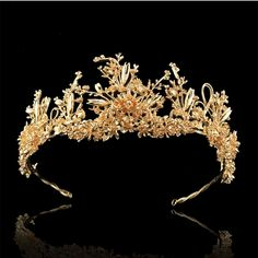 2 1/2 inch Height Luxury Royal Gold Plated Flower Queen Princess Tiaras Crown