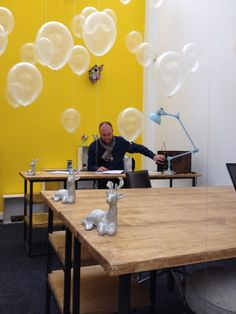 Stu's thought bubbles fill the air with creative loveliness. Thought Bubbles, Fill, Conference Room, Shed, Crafty, Studio, Creative, Table, Furniture