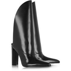 Alexander Wang Lin polished-leather boots ($170) ❤ liked on Polyvore featuring shoes, boots, pointed toe boots, black shiny boots, black boots, black high heel shoes and pull on boots